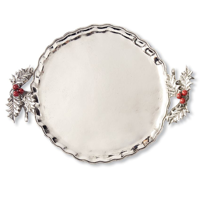 Holly Metal Serving Tray, Gifts, Mud Pie, Laura of Pembroke