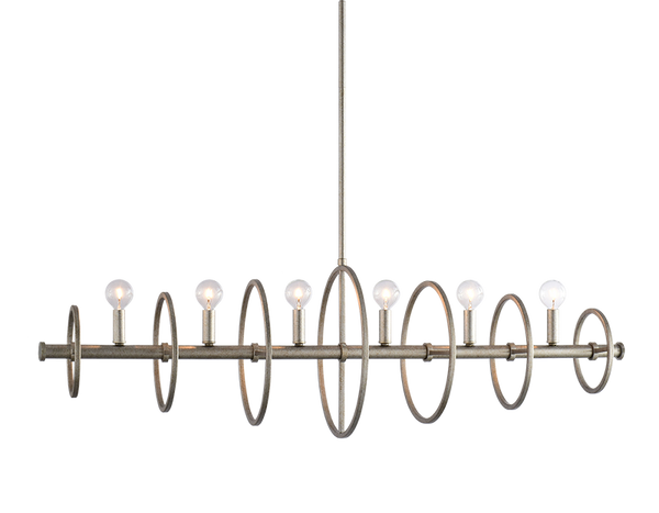 Hoopa Rusty Silver 6 Light Chandelier
