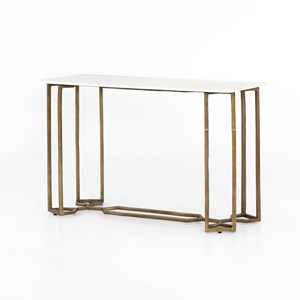 Raw Brass Marble Console Table