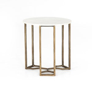 Raw Brass Marble End Table