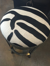 Backless Zebra Swivel Barstool