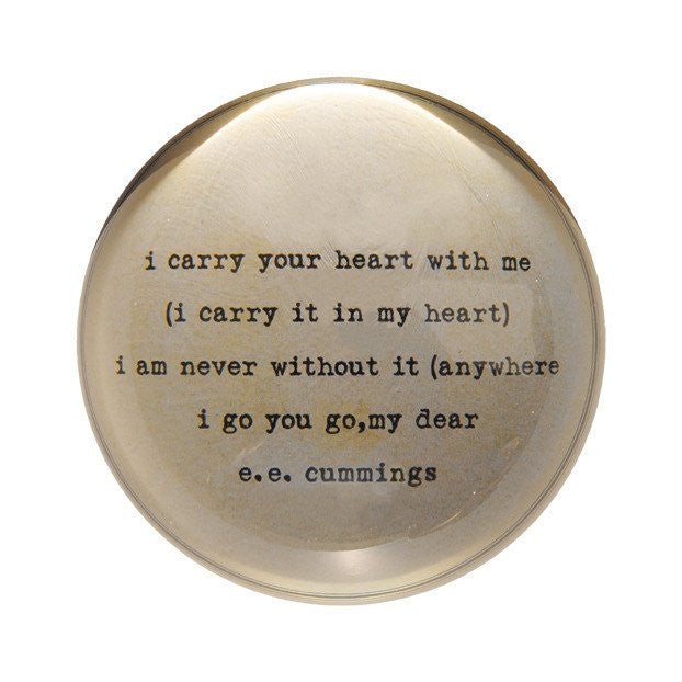I Carry Your Heart Paper Weight, Gifts, Laura of Pembroke