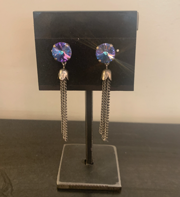 Iridescent Swarovski Crystal Earrings with Chain