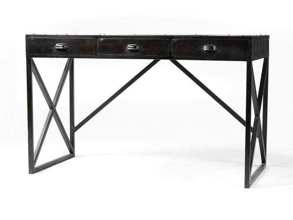 Iron Desk With 3 Drawers Antique Black