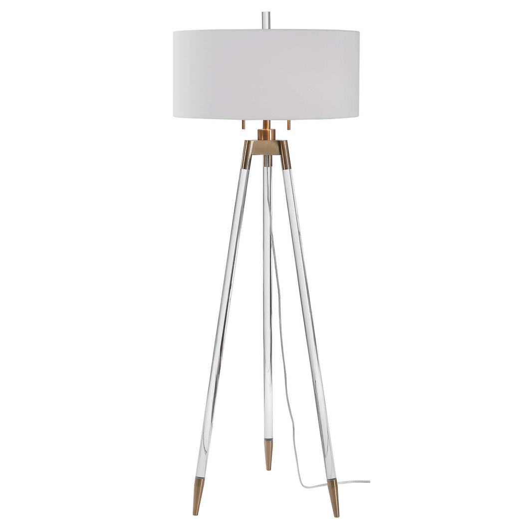 Brushed Brass and Acrylic Floor Lamp
