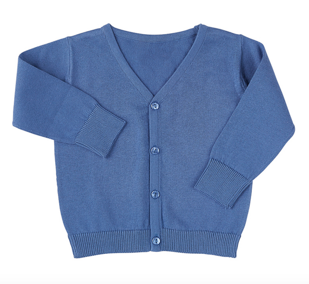 KNIT CARDIGAN - BLUE - V-NECK