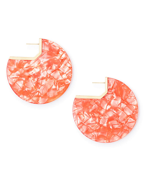Kai Gold Hoop Earrings In Peach Acetate