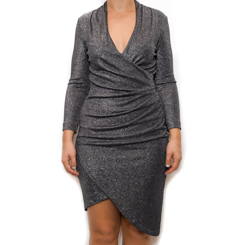 Silver Glitz V Neck Asym Hem Dress