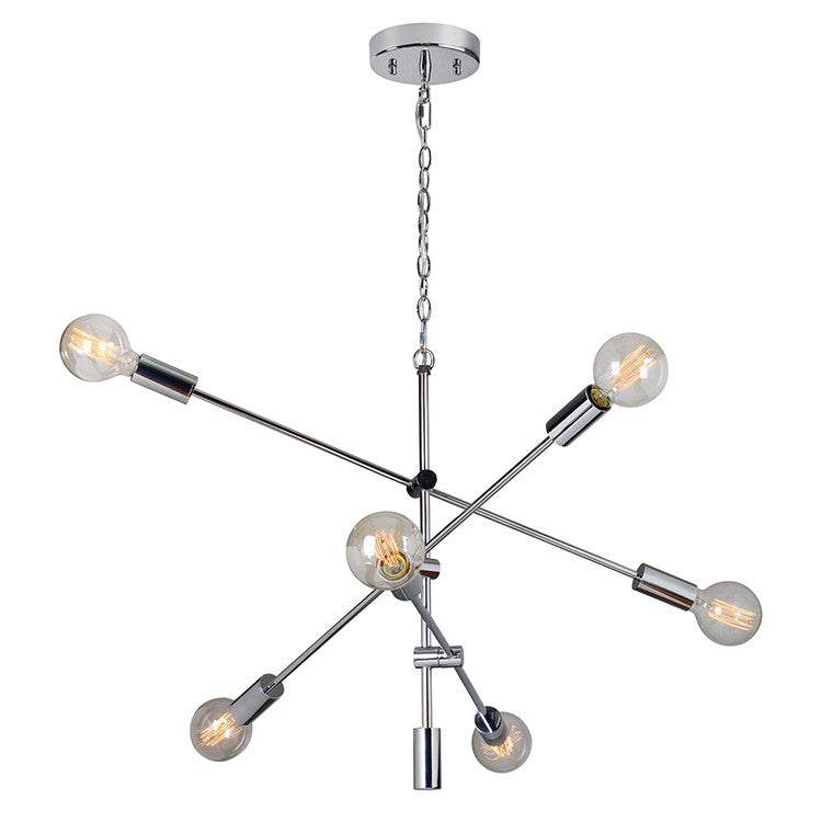 Chrome 6 Light Chandelier, Lighting, Laura of Pembroke