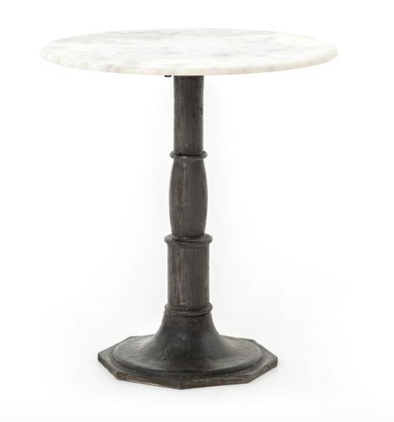 LUCY SIDE TABLE-CARBON WASH, MARBLE TOP