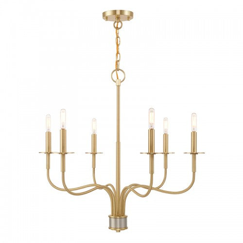 Lisbon 6 Light Satin Brass Chandelier