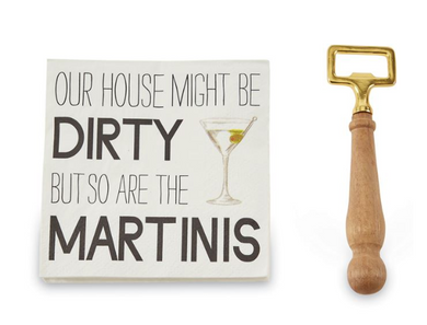Martini Bottle Opener Napkin Set