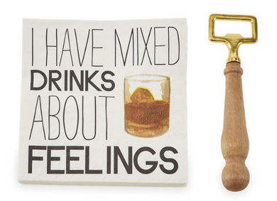 Mixed Drink Bottle Opener Napkin Set