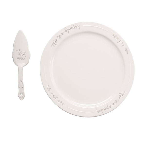 MR. & MRS. CAKE PLATE SET