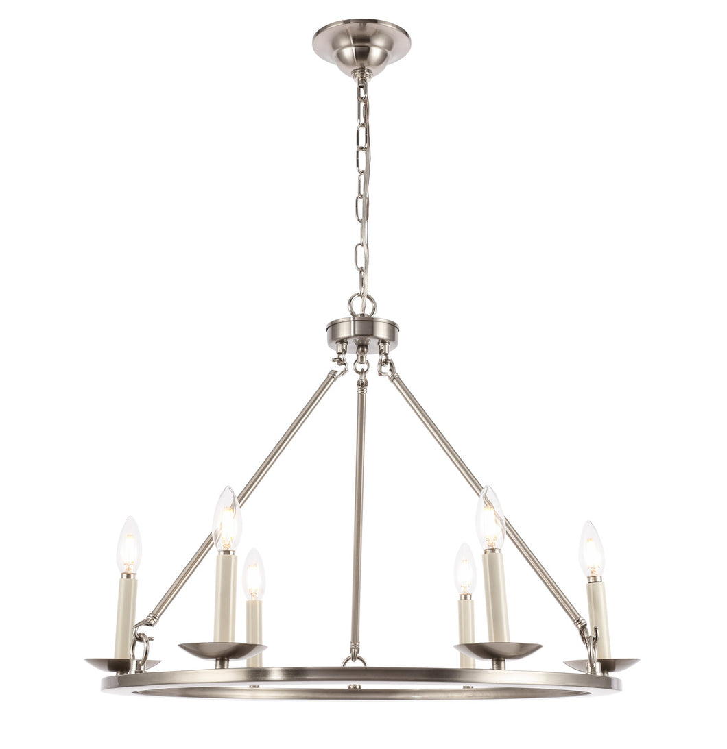 Maine Burnished Nickel Small Chandelier, Lighting, Laura of Pembroke