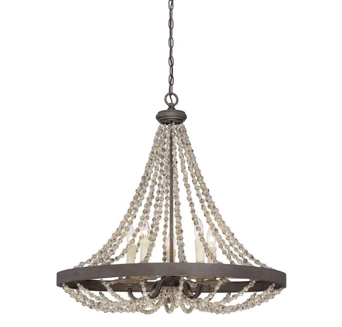 Mallory Fossil Stone 5 Light Chandelier