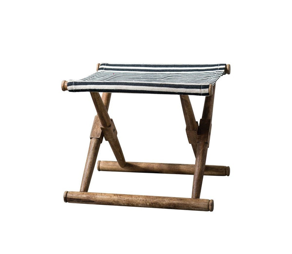 Mango Wood & Cotton Woven Striped Folding Stool