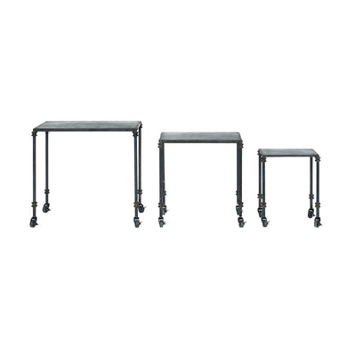 Metal Tables on Casters, Distressed Black