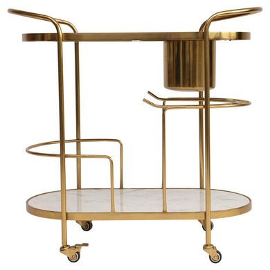 Metal 2-Tier Bar Cart on Casters