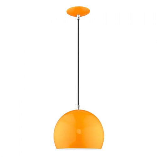Metal Shade Mini Pendants 1 Light Shiny Orange Mini Pendant, Lighting, Laura of Pembroke