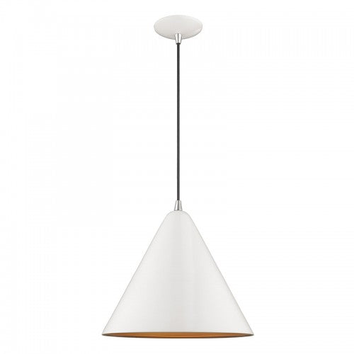 Metal Shade Mini Pendants 1 Light Shiny White Mini Pendant, Lighting, Laura of Pembroke