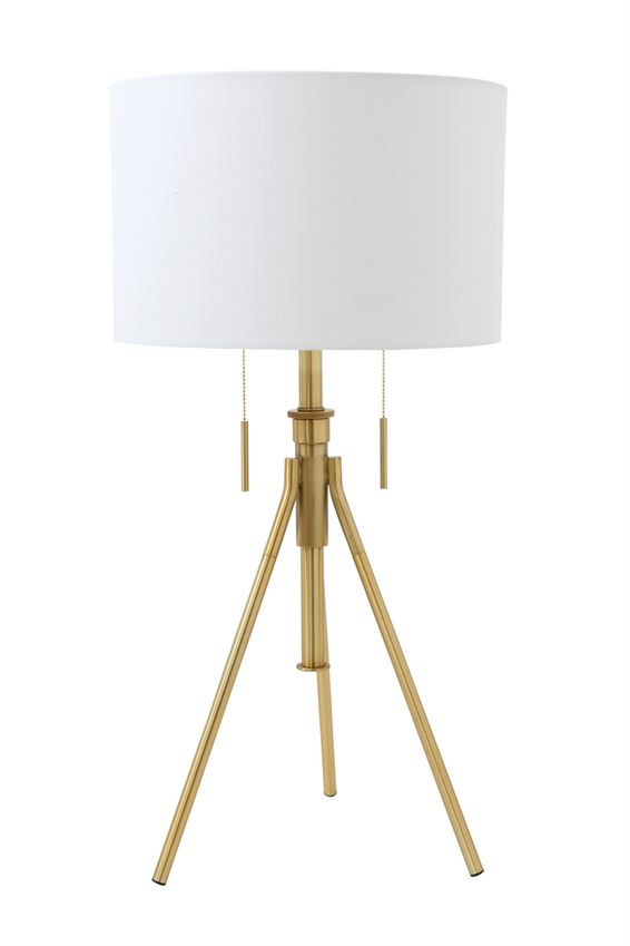 Metal Table Lamp with White Fabric Shade, Brass Finish