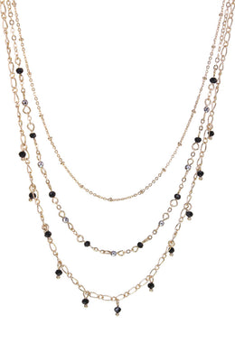 Multi Strand Beaded Chain Necklace.