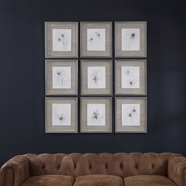 NEUTRAL FLORAL GESTURES FRAMED PRINT