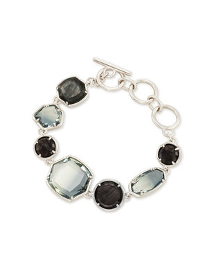 Natalia Silver Link Bracelet In Charcoal Gray Mix