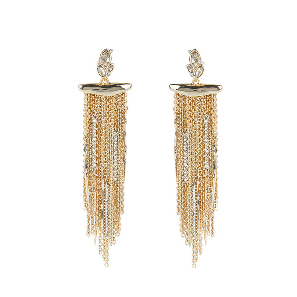 Navette Crystal Cluster Post Fringe Earring