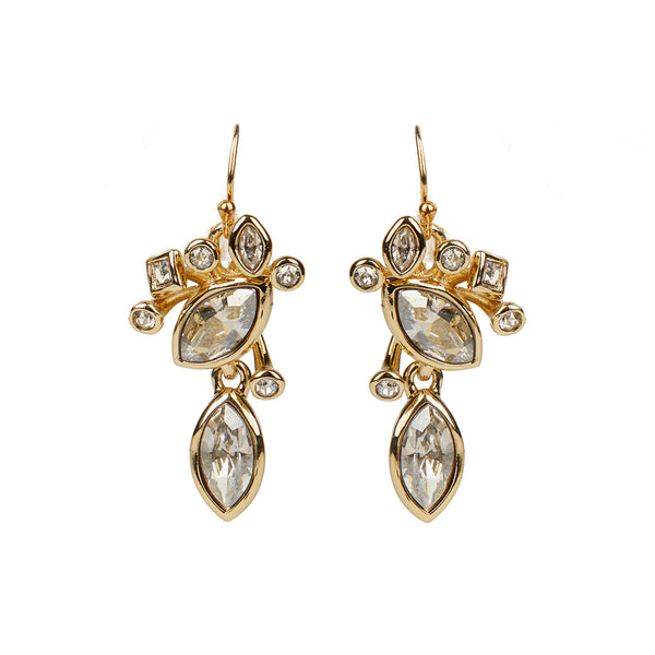 Navette Crystal Cluster Wire Earring