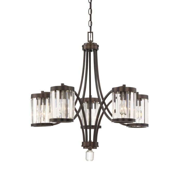 Nora Burnished Bronze 5 Light Chandelier