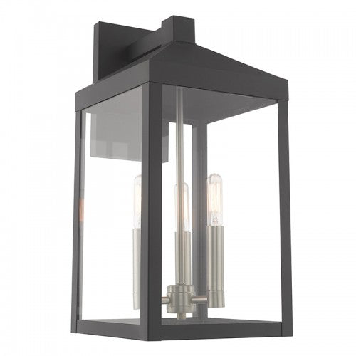 Nyack 3 Light Scandinavian Gray Wall Lantern, Lighting, Laura of Pembroke