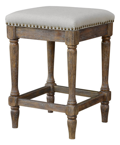 Oatmeal Linen Counter Stool