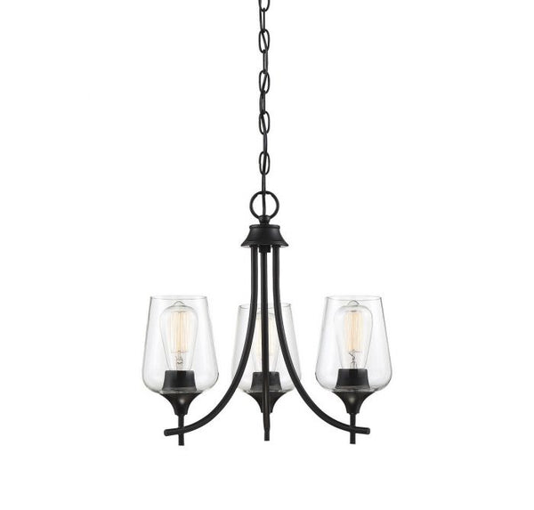 Octave Black 3 Light Black Chandelier