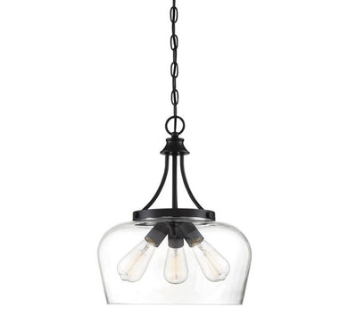 Octave Black 3 Light Black Pendant