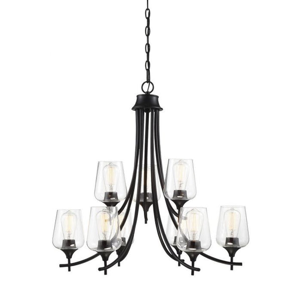 Octave Black 9 Light Black Chandelier