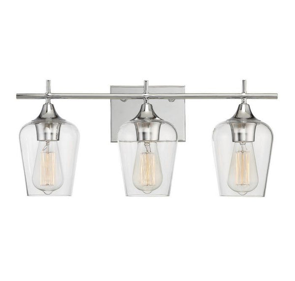 Octave Polished Chrome 3 Light Bath Bar