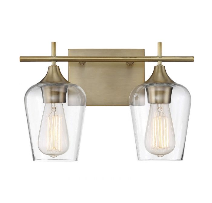 Octave Warm Brass 2 Light Bath Bar