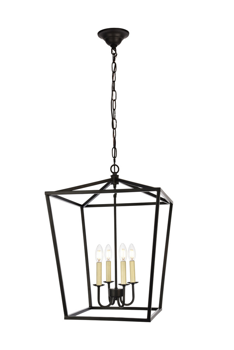 Open Lantern Black 4 Light Chandelier, Lighting, Laura of Pembroke
