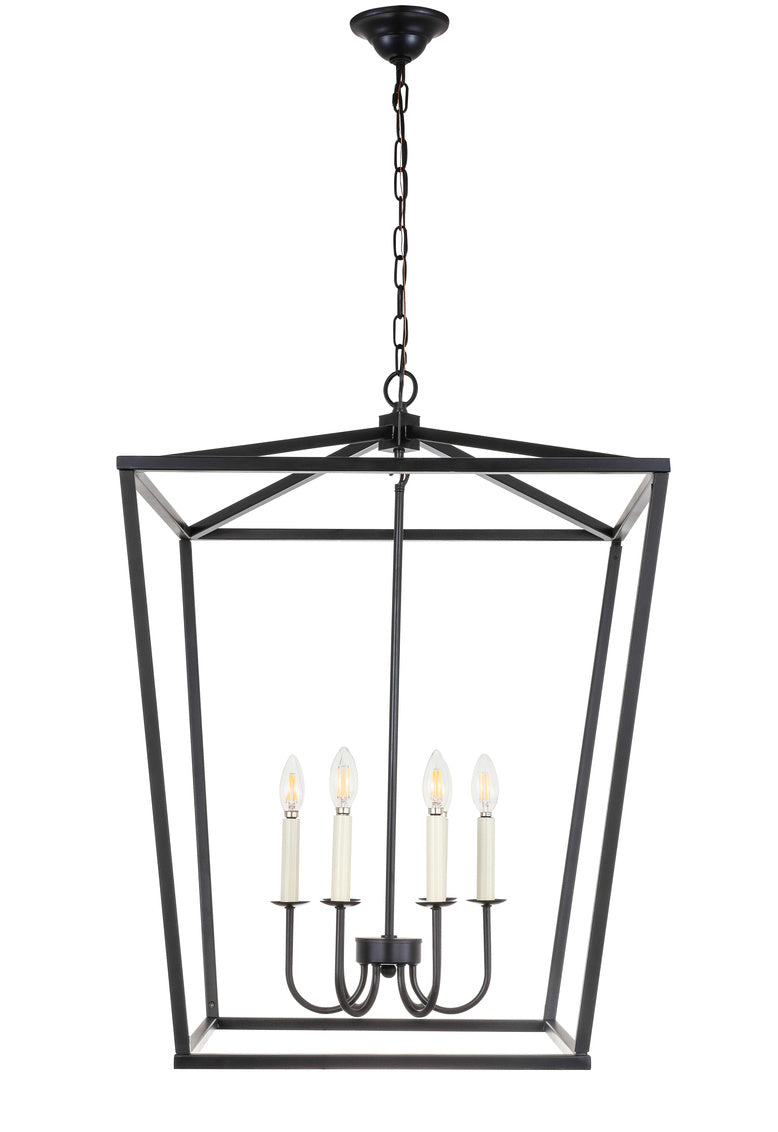 Open Lantern Black 6 Light Chandelier