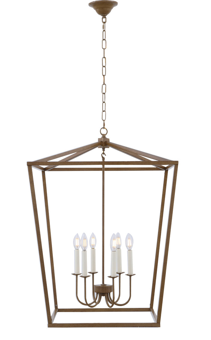 Open Lantern Vintage Gold 6 Light Chandelier, Lighting, Laura of Pembroke