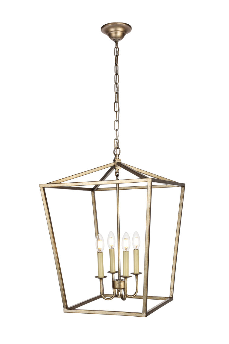 Open Lantern Vintage Silver 4 Light Chandelier