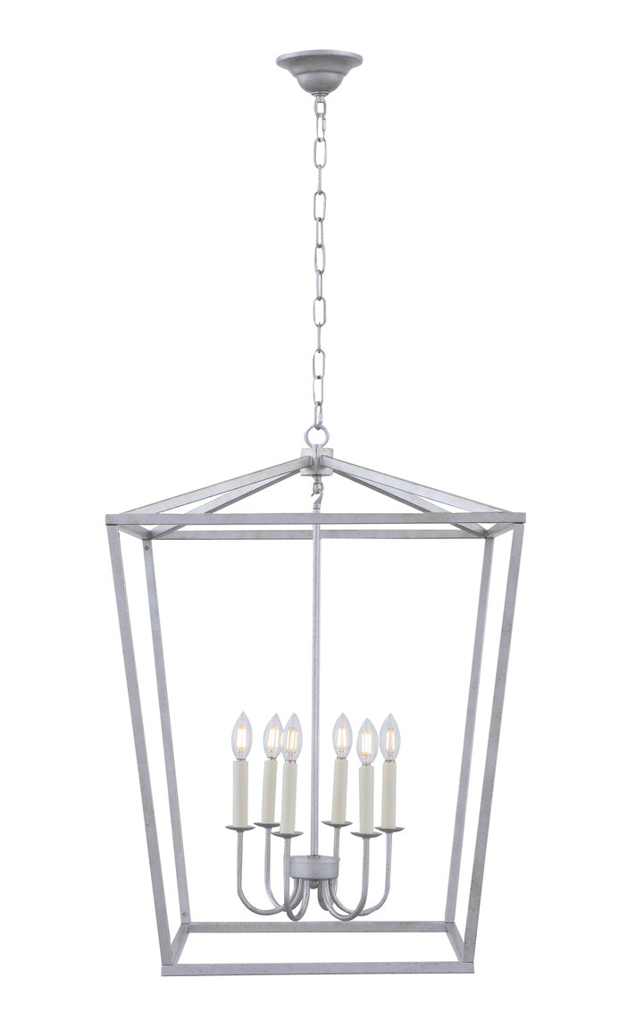 Open Lantern Vintage Silver 6 Light Chandelier