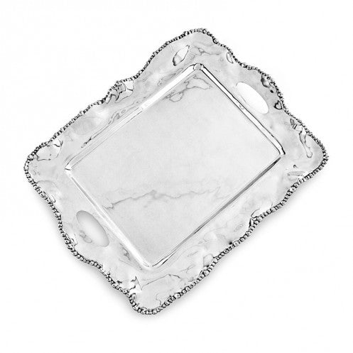 Organic Pearl Kristi Rectangular Tray with Handles