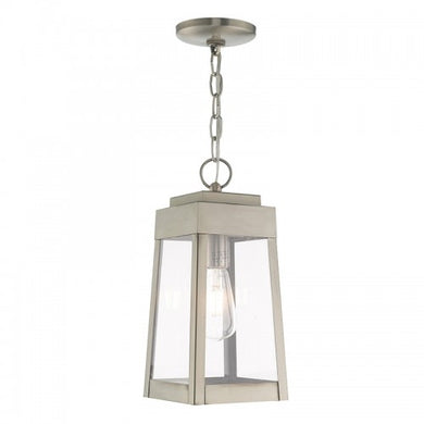 Oslo 1 Light Brushed Nickel Pendant Lantern, Lighting, Laura of Pembroke