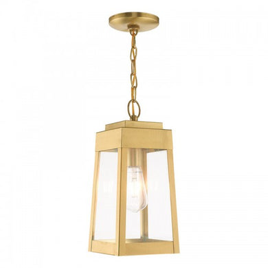 Oslo 1 Light Satin Brass Pendant Lantern, Lighting, Laura of Pembroke
