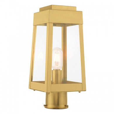 Oslo 1 Light Satin Brass Post Top Lantern, Lighting, Laura of Pembroke
