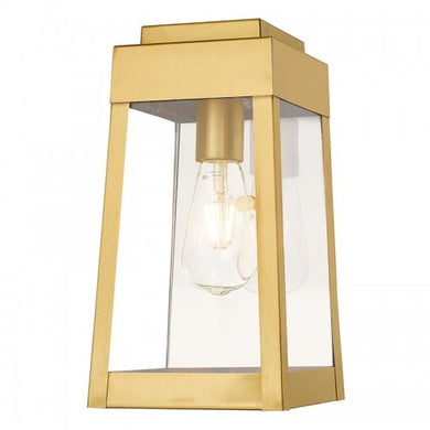 Oslo 1 Light Satin Brass Wall Lantern, Lighting, Laura of Pembroke