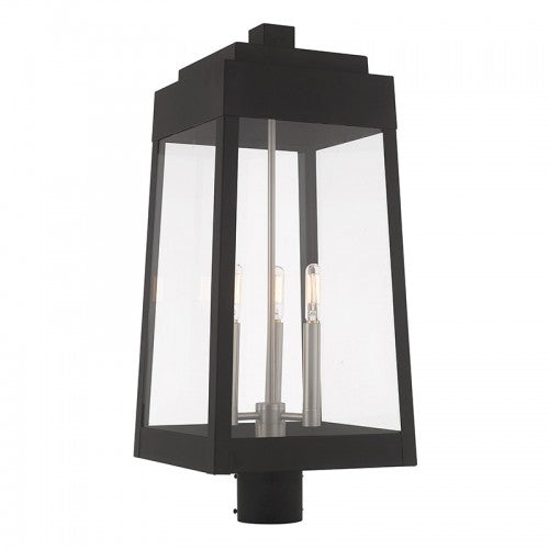Oslo 3 Light Black Post Top Lantern